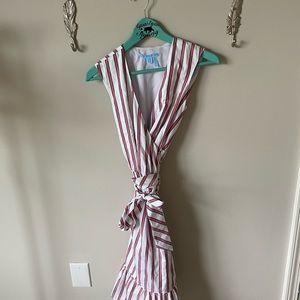 Draper James pin stripe wrap dress soft cotton